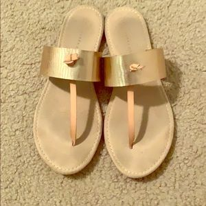 Rose gold and tan sandals
